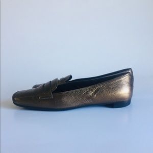 Prada Bronze Leather Loafers size US 8, EUR 38